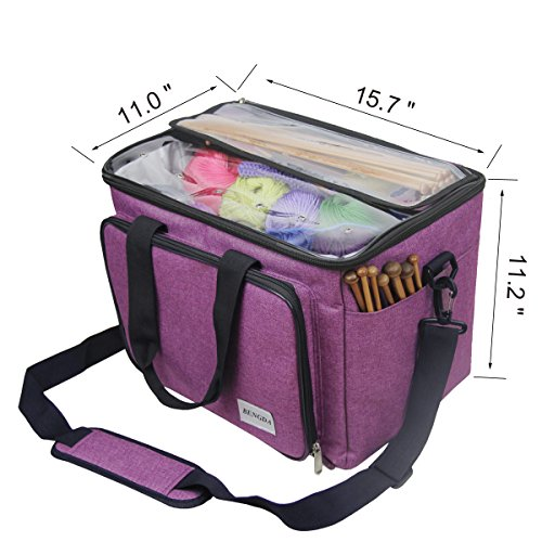 """Knitting Bag,Yarn Tote Organizer with Inner Divider for Crochet Hooks, Knitting Needles(up to 14""""),Project and Supplies,Easy to Carry,High Capacity (Purple) by BENGDA (Image #2)"""