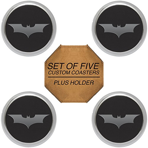 - Batman The Dark Knight Silver Engraved Synthetic Leather Drink Coaster Round Gift Set of 4