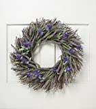 22 Inch Lavender Wreath with BONUS Glitter Heart Gift Tag Spring Floral Front Door Wreath Lavender Flower Hanging Wall Window Decoration Home Office Easter Holiday Festive Decor