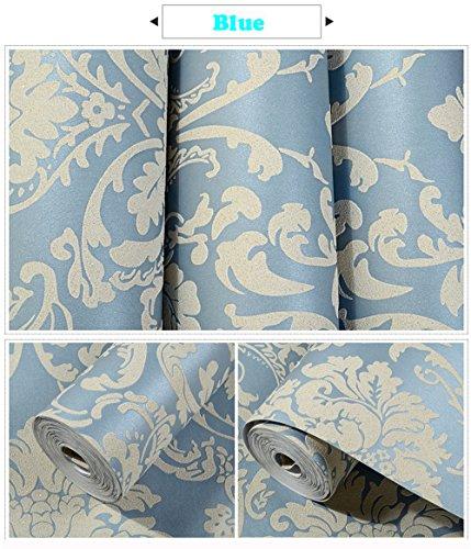 - METIS Super thick 3D embossed Damascus nonwoven wallpaper film and TV background living room bedroom European wallpaper(Blue)