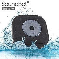 SoundBot® SB518FM FM RADIO Altavoz de ducha inalámbrico Bluetooth resistente al agua Altavoz portátil de manos libres con escaneo automático inteligente con un toque, transmisión de música de 6 horas, micrófono incorporado, ventosa desmontable