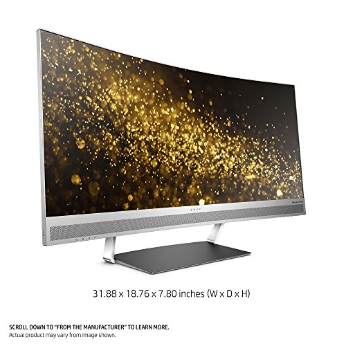 HP ENVY 34-inch Ultra WQHD Curved Monitor with AMD Freesync Technology, Webcam and Audio by Bang & Olufsen (Black/Silver) by HP (Image #1)