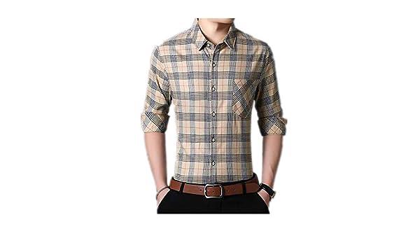 2019 Nueva Camisa a Cuadros de Manga Larga para Hombres de algodón Salvaje Informal para Hombres Amarillo 5XL: Amazon.es: Ropa y accesorios