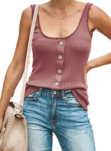 (Lovezesent Womens Button Down Spandex Tank Top Summer Scoop Neck Racerback Ribbed Knit Cami Tops for Leggings Pink Medium)