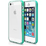 iPhone 5 5s Case, MagicMobile® [Bumper Frame] Clear Transparent Slim Glossy TPU Cover for Apple iPhone 5 5s with Turquoise Bumper Frame Hard Flexible Case + Free Screen Protector