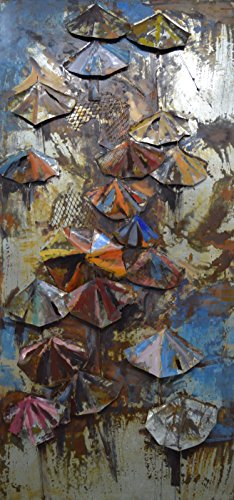 Empire Art Direct ''Umbrellas'' Mixed Media Hand Painted Iron Wall Sculpture by Primo by Empire Art Direct