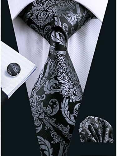 Hi-Tie New Fashion Black Woven Silk Tie Handkerchief Cufflinks Set