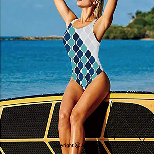 Fashion Swimming Suit,Curved Tone Stripes with Spiral Arabes,High Cut - Cut Patriotic Spiral