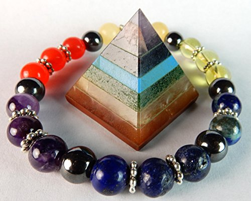- CHAKRA PYRAMID STONE w/ 7 Chakra Stones and Natural Stone Charka Bracelet Combo, With Beverly Oak's Exclusive Certificate Of Authenticity & Lucky Gold Pirate Coin (COA and Bonus)