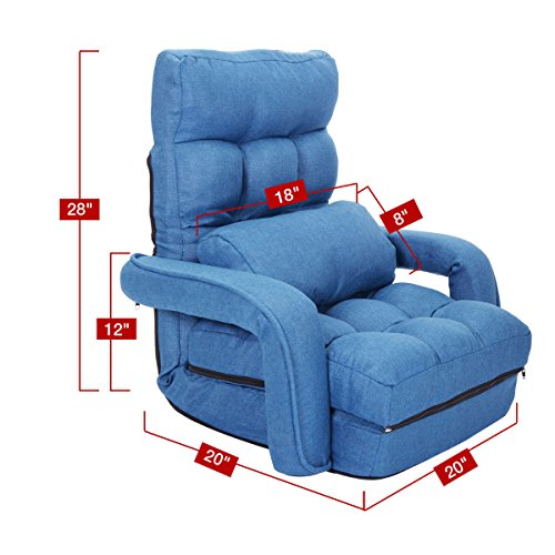 Cheap Blue Adjustable Folding Lazy Sofa Floor Chair Sofa Lounger Bed w/ Armrests & Pillow For Leisure
