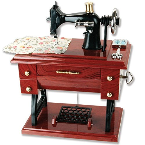 (Vintage Mini Sewing Machine Style Plastic Music Box Table Desk Decoration Toy Gift for Kid Children)