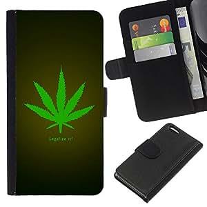 Apple iPhone 5C , la tarjeta de Crédito Slots PU Funda de cuero Monedero caso cubierta de piel ( Legalize Cannabis Hemp Weed Green Herbal)