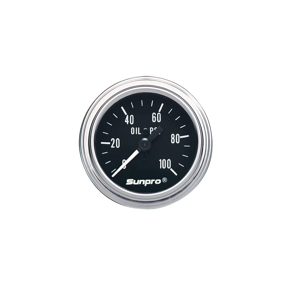 Sunpro CP7977 Mechanical Oil Pressure Gauge   Black Dial