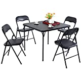 Folding Dining Table Set of 5 Table and 4 Chairs Black Card Game Party New