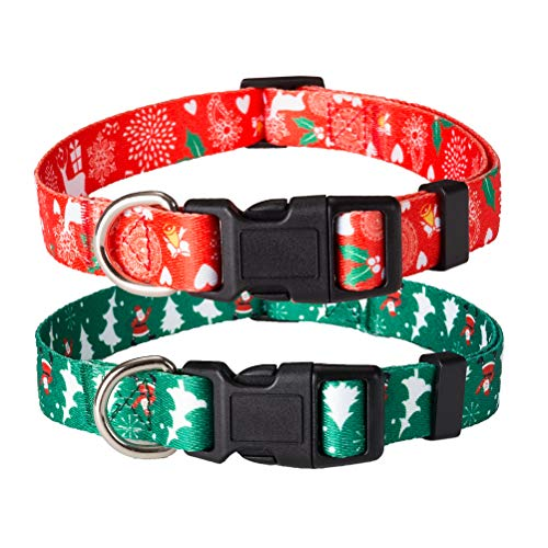 KOOLTAIL 2 Pack Christmas Dog Collars Breakaway Collar Set for Dogs Red & Green 14