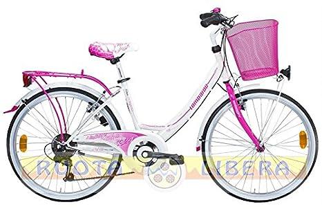 Lombardo Bici Ragazza City Bike 24 Rimini 24 6v Whitefuchsiaglossy