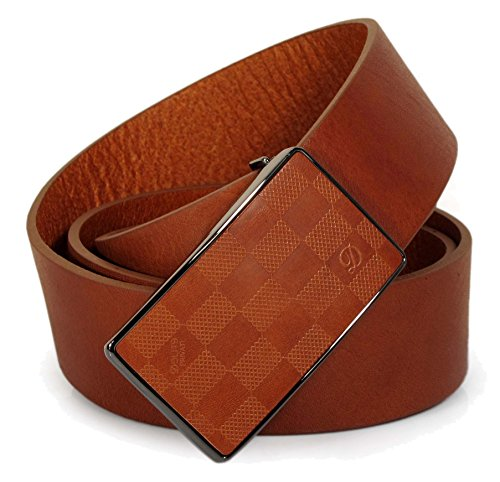 "(CW0-131) Womens Tan Brown Belt 100% Real Leather Size 28,30,32,34,36"" Wide 1.5"" (34"" (Waist 32"", Total 41±1""))"