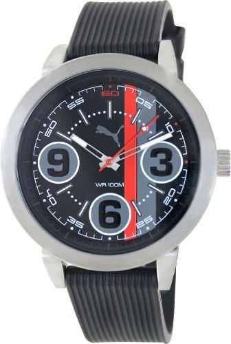 Puma Men's 369 PU103361001 Black Rubber Analog Quartz Watch with Black Dial