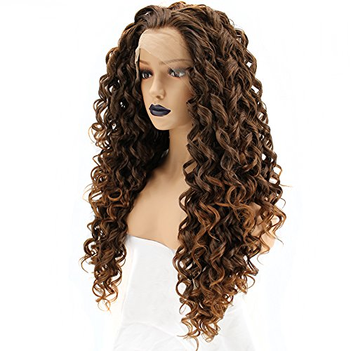 Anogol Hair Cap+Mixed Brown Long Deep Curly Lace Front Wig Natural Hairline Spiral Curls Wigs for Women Hair ()