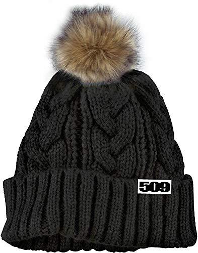(509 Snowmobile Fur Pom Beanie Black)