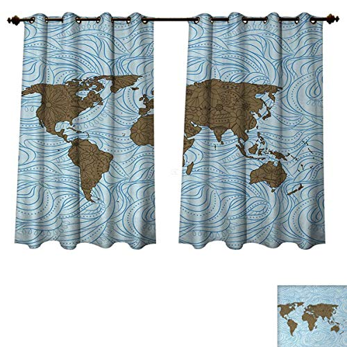 (Anzhouqux Floral World Map Bedroom Thermal Blackout Curtains World Map with Wavy Ocean Lines Flower Continent Icons Artful Image Drapes for Living Room Cocoa Pale Blue W55 x L63 inch)