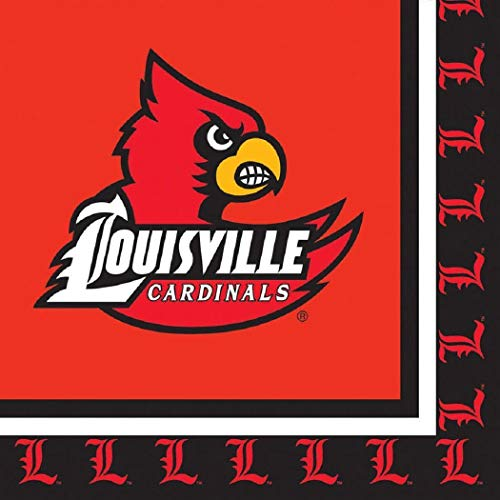 Louisville Cardinals Napkins Sports Themed College University Party Supply Napkins for Beverage for 20 Guests Red Black Color Paper Napkins]()