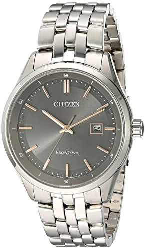 Citizen Men's 'Eco-Drive Dress' Quartz Stainless Steel Watch, Color:Silver-Toned (Model: BM7251-53H)