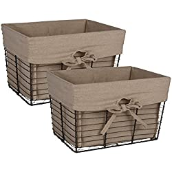 DII Vintage Grey Wire Basket Removable Fabric Liner, Set of 2, Taupe