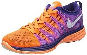 NIKE Women's Flyknit Lunar2 Running Shoes - Size: 6, Orange/white [Apparel]