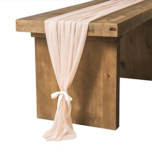 Ling's moment Light Peach Sheer Table Runner 32 x 120 Inches Table Overlay Rustic French Chic Wedding Party Bridal Shower -