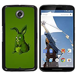 Be Good Phone Accessory // Dura Cáscara cubierta Protectora Caso Carcasa Funda de Protección para Motorola NEXUS 6 / X / Moto X Pro // Funny Lol Green Rabbit