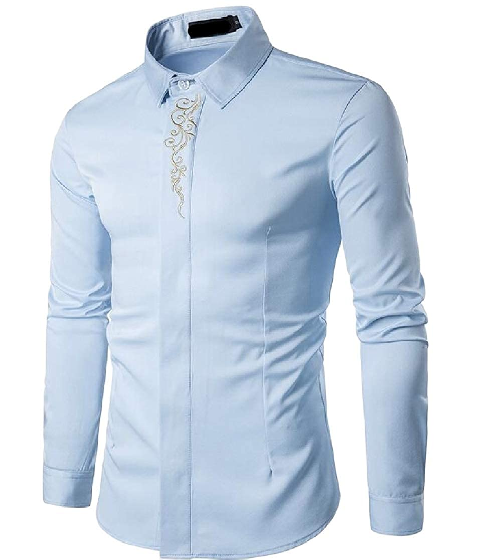 Joe Wenko Mens Button Front Vogue Long Sleeve Embroidery Lapel Shirts