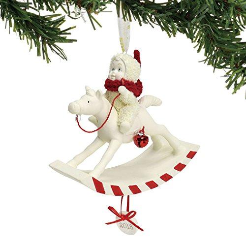 """Department 56 Snowbabies Ornaments - Department 56 Snowbabies """"Peppermint Pony, 2018"""" Porcelain Hanging Ornament, 3.625"""""""