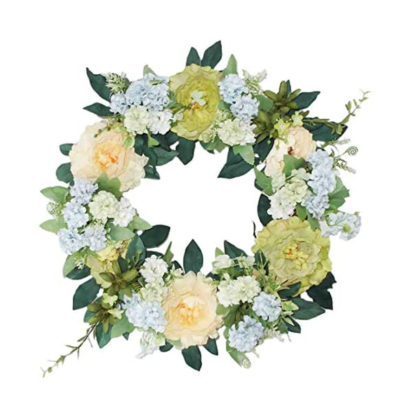 Emlyn Silk Spring Door Wreath- 16-18 Inch,Beautiful Handcrafted Mix Flowers Front Porch Decoration (Green Peony Wreath)