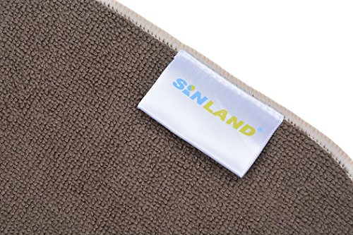 Sinland Microfiber Dish Drying Mats Countertop Mat Dishes Kitchen Super Absorbent 16Inch X 18Inch Brown