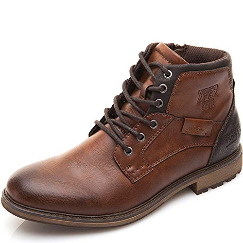 XPER Men's Boots Brown Fashion Lace up Motorcycle Shoes Combat Winter Ankle Boots Casual Dress Shoes for Men 10