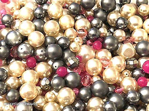 ng 1/4 Lb Pink Steel Mix Czech Glass Pearls & Fire Polished Bulk Assorted Beads ()