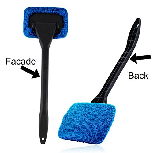 SUJING Window Cleaner Brush Kit Car Window Windshield Wonder Cleaning Wash Tool Inside Interior Auto Glass Wiper With Long Handle (Drak Blue)