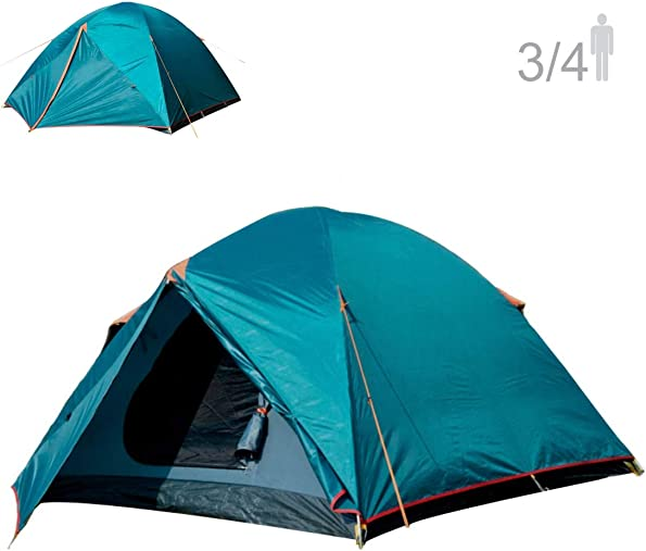 NTK Colorado GT 3 to 4 Person Outdoor Dome Family Camping Tent 100 Waterproof 2500mm, Easy Assembly, Durable Fabric Full Coverage Rainfly - Micro Mosquito Mesh, Size 6.7 x 11.5 x 4.4