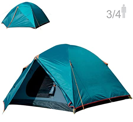 NTK Colorado GT 3 to 4 Person Outdoor Dome Family Camping Tent 100 Waterproof 2500mm, Easy Assembly, Durable Fabric Full Coverage Rainfly – Micro Mosquito Mesh, Size 6.7 x 11.5 x 4.4