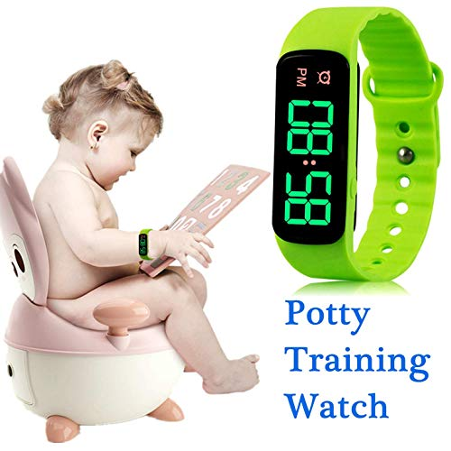 Potty Training Watch Baby Reminder Water Resistant Timer - Potty Trainer for Toilet Training Boys and Girls,Newly Improved 2019-THE Range of Ringing TIME-9 Songs Loops(LED Screen) (Potty Training Watch For Toddlers)