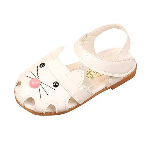 OHQ Scarpe per Neonato, bambini Ragazze Sandali di Stampa del Fumetto Gatto Principessa Scarpe Casual Bambina Bambino Cat Head Bag (30, Bianca)