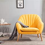 Wamiehomy Modern Suede Fabric Armchair Tub Occasional Chair with Solid Wood Legs for Living Room Bedroom Reception Contemporary