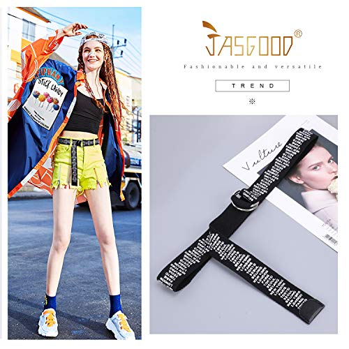 JASGOOD Canvas Belts for Women, Fabric Web Belts with Double D Ring buckle Extra Long Strap 1.5inch Wide,Suit for Waist Size Below 45 Inches,Black