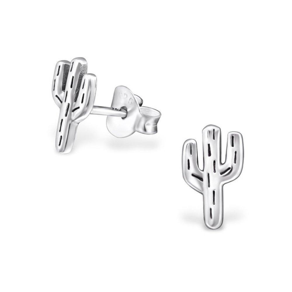 Sterling Silver Cactus Stud Earrings