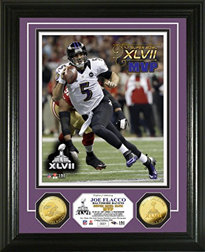 NFL Baltimore Ravens Super Bowl XLVII MVP Gold Coin Photo Mint, Gold, 18'' x 14'' x 3'' by The Highland Mint