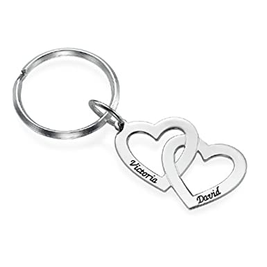 a49c93e7cc Personalized Name Keychain Couple Two Heart Name Key Ring Custom Made with  2 Names - Gold