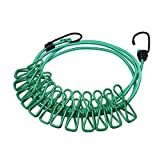 MyLifeUNIT Clothesline Retractable Portable Travel Outdoor Windproof Clothes Line with 12 Wire Clips (Green)