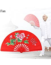 Chinese Fan Tai Chi Kung Fu Folding Fan Martial Arts Kung Fu Bamboo Silk Fan Right Hand Wushu Dance Pratice Training