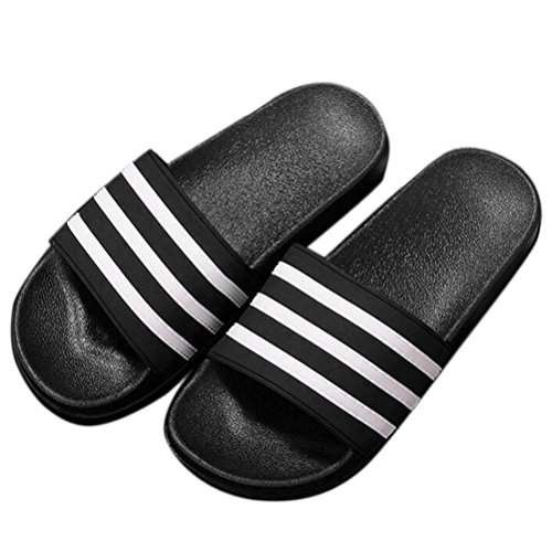 Nanxson(TM) Unisex Striped Bathroom Anti Skid Slippers TX0010 (38-39(US 7-7.5), black) (Kids Hobbit Feet)